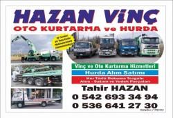 Hazan vinç oto kurtarma ve yol yardım hizmetleri